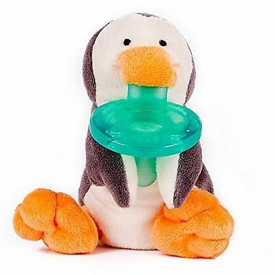 NEW~WubbaNub Silicone Soothie Pacifier~Plush~Baby~0-6 Months~Gray Penguin