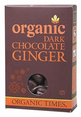 ORGANIC TIMES Organic Dark Chocolate Ginger 150g    x 2 boxes