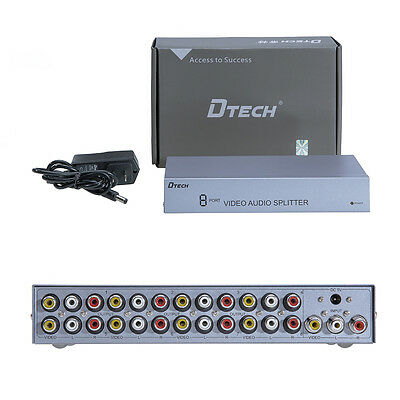 DTECH  Powered 8 Way RCA AV Splitter Box Composite Audio Video 3RCA 1 in 8 out