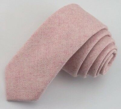 New High End Skinny Blush Pink Wool Tie 6cm. Excellent & Reviews. 🇬🇧