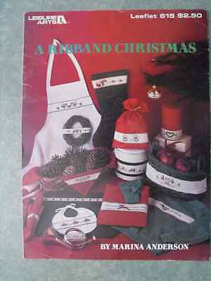 Leisure Arts-Counted Cross Stitch Leaflet No 615-A Ribband Christmas-Stocking...