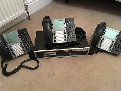 Mitel 5000 HX Phone System Controller And 3 Phones