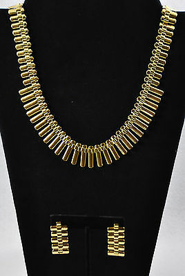 """10"""" Vintage Thick Wide Gold Tone Collar Necklace and Earring Set in Box"""