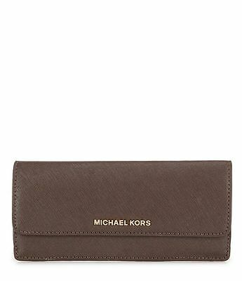 MICHAEL KORS Jet Set Travel Flat Saffiano Leather WALLET Coffee Brown  NWT