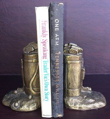 Pair Of Vintage Bronze Golf Bags Bookends