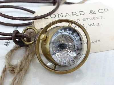 NEW Brass Steampunk WATCH Leather Necklace Glass ORB Mechanical Watch Pendant