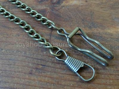 Vintage Style Fob Pocket Watch Chain Antique Brass - Bronze