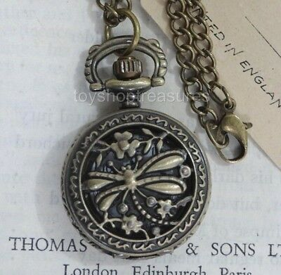 New Antique Brass Style Dragonfly Pendant Pocket Watch Necklace