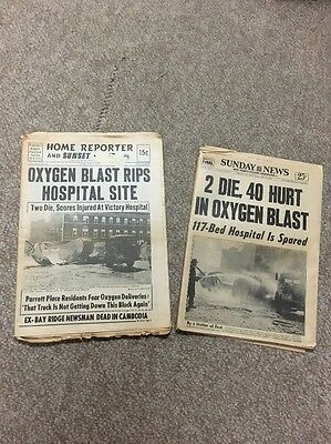 Lot of 2 Vintage Sunday News Home Reporter Newspapers 1970 Oxygen Blast