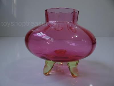 Vintage Footed Pink & Green Glass Pot Vase Uranium Glass Feet - Beautiful Piece
