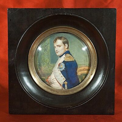 STUNNING Antique NAPOLEON miniature PAINTING PORTRAIT signed L.F. AUBRY 19th C