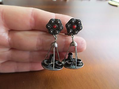 """Antique Art Deco 800 Silver Coffee Tray set Coral  Dangle Clip Earrings 1.5"""""""