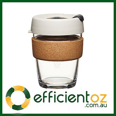 Glass Keep Cup - KeepCup Brew CORK WHITE - Reusable Barista Grade Eco Coffee Cup