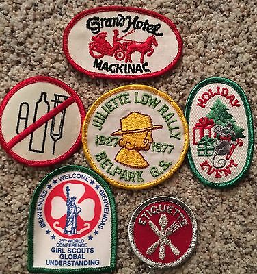 Lot of Girl Scout Patches Vintage 70s and 80s, Holiday, Mackinac, No Drugs