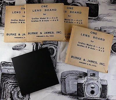 Four Graflex Graphic Wood Black Lens Boards Film Camera Model D and RB Auto 4x5