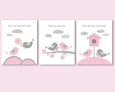 3 prints / posters for nursery, baby girl room with a quote, birds family, pink