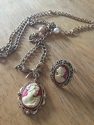 Vintage gold tone victorian cameo ring and necklace