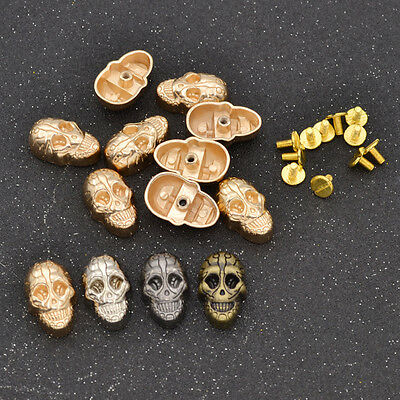 1 Set Punk Skull Stud with Screws DIY Leathercraft  Wallet Alloy Multicolor