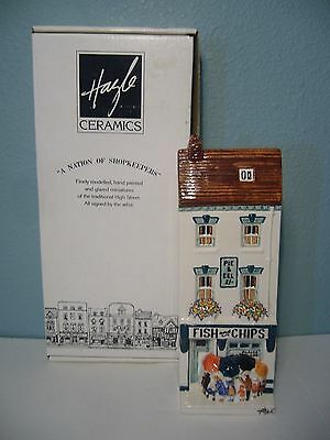 Hazle Ceramics A Nation of Shopkeepers FISH AND CHIPS Wall Hanging IN BOX