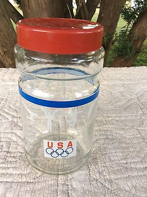 Maxwell House Coffee 1988 USA Olympic Team Sponsor Clear Glass Jar