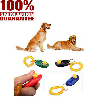 Pet Dog Cat Training Trainer Button Click Clicker Slient Obedience Wrist Strap