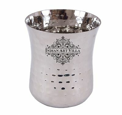 Stainless Steel Hammered Glass Tumbler Serving Water Home Hotel Restaurant