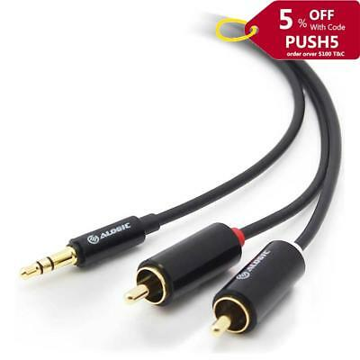 ALOGIC 10m 3.5mm Stereo Audio to 2 X RCA Stereo Premium Male to 2 Male AD-SPL-10