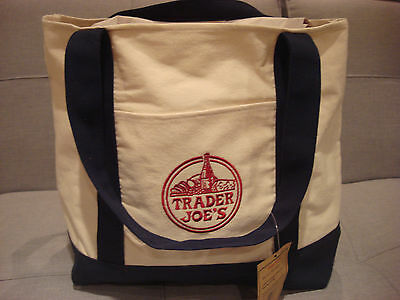 Trader Joe's White Navy Cotton Polyester Reusable Grocery Bag - Brand New