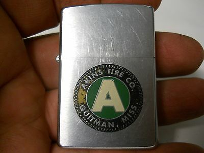 Akins Tire Co Quitman Miss old Colorfull Zippo Lighter RARE  painted emblem