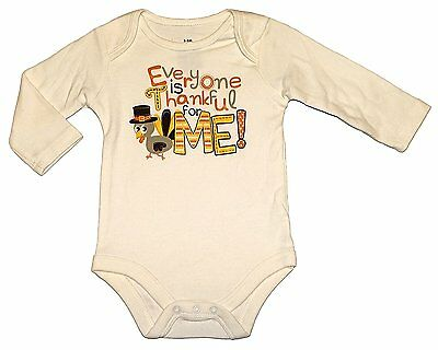 Assorted Turkey Baby Boys & Girls Thanksgiving Long Sleeve Bodysuit Outfit 6-9 -