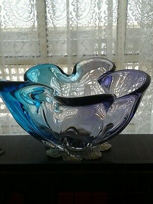 Murano Blue and Purple Five Finger Glass Bowl