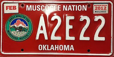 Oklahoma 'Muscogee Nation' Indian License Plate (A2E22)