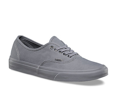 Vans Authentic Primary Mono Gray Grey Mens Womens Canvas Skates Shoes Sizes