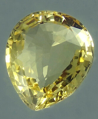 Unheated Natural Ceylon Yelllow Sapphire 1.59cts Pear Cut loose gemstone 1.50ct