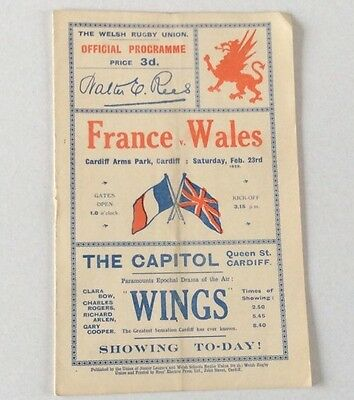 FRANCE v WALES FEBRUARY 23rd.1929 OFFICIAL PROGRAMME EXCELLENT CONDITION.