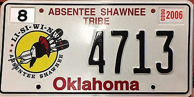 Oklahoma 'Absentee Shawnee Tribe' Embossed Indian Tribe License Plate (4713)