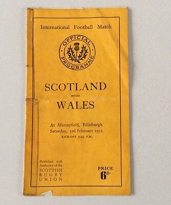 SCOTLAND v WALES 1951 FEBRUARY 3rd.OFFICIAL PROGRAMME POOR CONDITION.