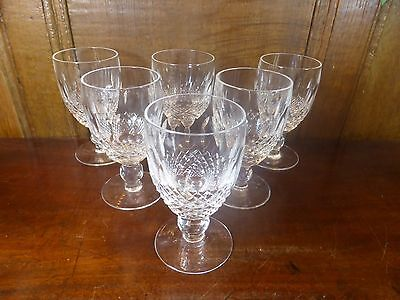 """STUNNING Waterford crystal SET 6 COLLEEN short stem WATER/WINE GOBLETS - 4.75"""" B"""