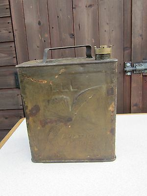 Vintage Shell Aviation Spirit 2 Gallon Petrol Can With Brass Cap
