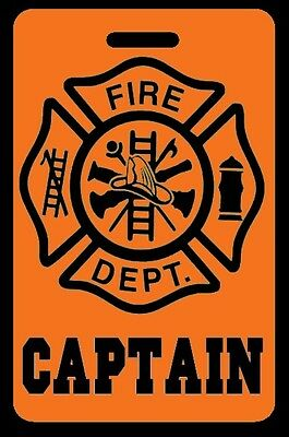 Orange CAPTAIN Firefighter Luggage/Gear Bag Tag - FREE Personalization