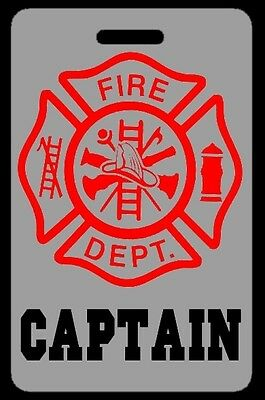 Lo-Viz Gray CAPTAIN Firefighter Luggage/Gear Bag Tag - FREE Personalization