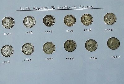 King George V Sixpence Pieces