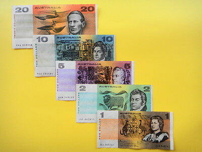 SET OF 5 - AUSTRALIAN PAPER BANKNOTES -$1,$2,$5,$10,$20 -VF+++ Condition