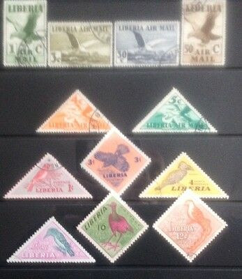 Liberia Bird Stamps 1940-1950s. Mint & Used.