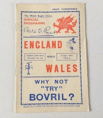 ENGLAND v WALES JAN 15th.1938 ORIGINAL OFFICIAL PROGRAMME. VERY GOOD CONDITION.