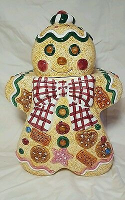 Holiday Gingerbread Man Cookie Jar Canister 1996 Jay Import