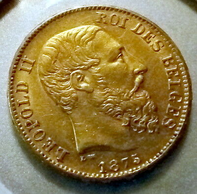 Leopold II 20 fr gold coin 1875