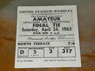 Ticket 1965 Amateur Cup Final - HENDON v. WHITBY TOWN
