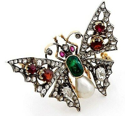 Victorian 1.40Ct Rose Cut Diamond 925 Sterling Silver Elegance Butterfly Brooch