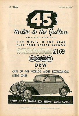 DKW AUTO UNION Vintage Advert 1937